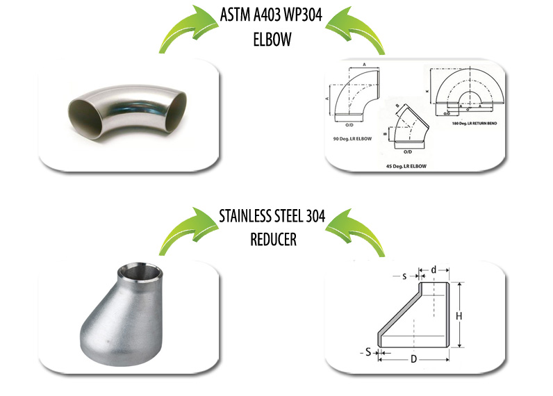 ASTM A403 WP304 Pipe Fittings Suppliers in India
